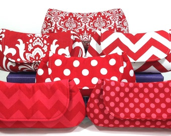 Bridal Party Clutches Bridesmaid Clutches Wedding Accessories Choose Your Fabric Red Set of 8