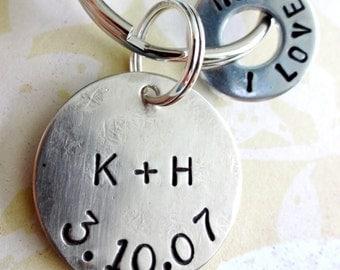 Love Hand Stamped Washer Key Chain and Nickel Silver Disc