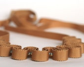 Golden camel grosgrain ribbon and glass bead necklace