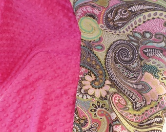 Paisley and hot pink minky toddler blanket
