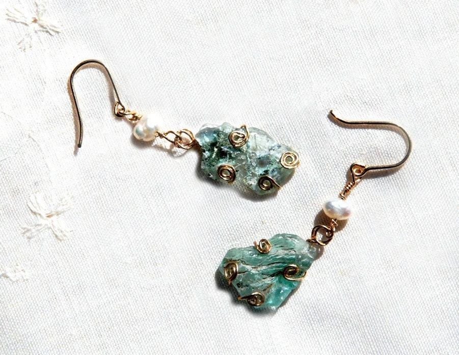 Roman Glass Earrings. Roman Glass gold Filled Earrings with Pearls.Aqua Earrings.Gold Filled Jewelry.Roman Glass Jewelry.Jewelry from Israel