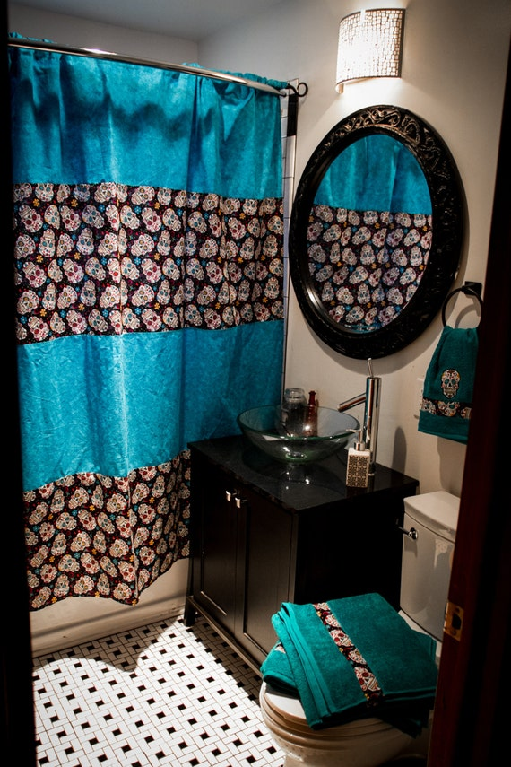 SALE Custom Bathroom Decor Shower Curtain Bath Towels Hand - Turquoise bath towels for small bathroom ideas