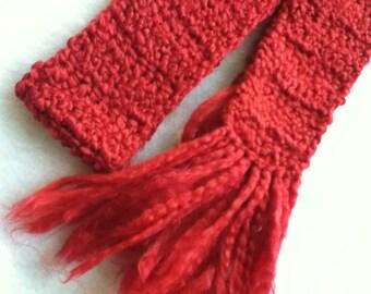 CLEARANCE Crimson Fringed Scarf - Classic Handmade - Unisex , Soft , Cozy , and Warm - Item 2001