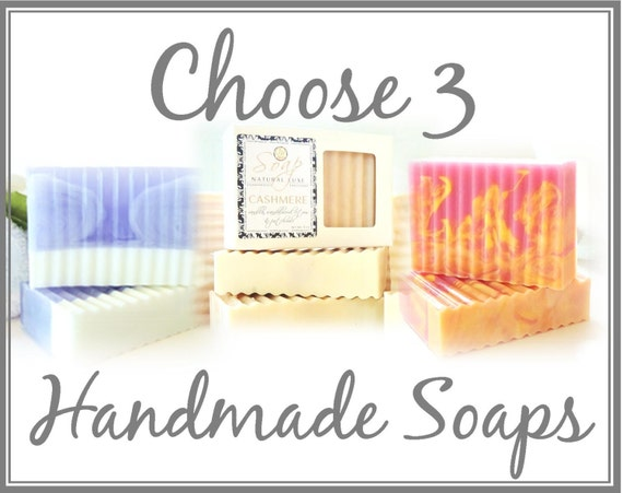 CHOOSE 3 SOAPS & SAVE - large 5 oz soap, soap sampler, natural, handmade, glycerin, scented, gift, guest