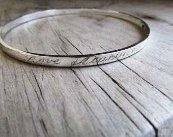 engraved bracelet, personalized bangle, sterling silver, jewelry, bridesmaid gift, wedding, anniversary, handmade, trendy