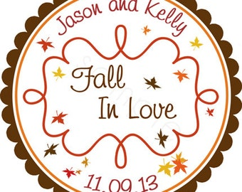 Fall Leaves and Curly Frame Wedding Personalized Stickers - Wedding Stickers, Wedding Favor Labels, Autumn, Envelope Seals - Choice of Size