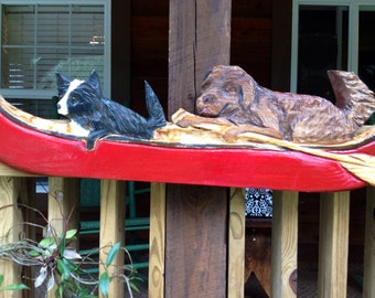 Personalize your art Dogs paddling Canoe with oar 4ft custom wooden Dog chainsaw carving home decor whimsical wall mount Send picture of Pet