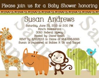 "Personalized/Customized ""Wildlife Jungle Animals"" Printable Baby Shower Invitation 5x7 U Print yourself"