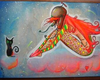 "SALE 18"" x 15"" Original Painting- Aviator Girl and Black Cat(""Amelia"")"