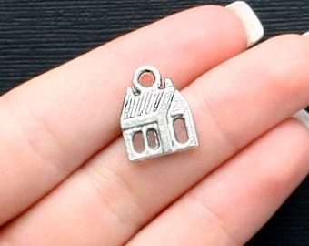 8 House Charms Antique  Silver Tone 2 Sided - SC1018
