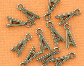 8 Letter A Alphabet Charms Antique Bronze Tone Great for So Many Projects - BC713