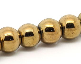 Hematite Gold Bead 1 Strand 8mm - BD310