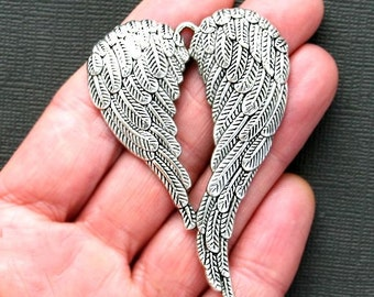 1 Large Wings Charms Antique  Silver Tone Angel Wings - SC2661