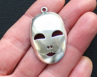 4 Mask Charms Antique  Silver Tone - SC2947