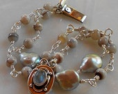 Silver Bracelet with Botswana Agate, Rainbow Moonstone and Pearls,  Wire-Wrapped, OOAK