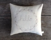 Decorative Pillow Cover, Personalized Hostess Gift, Modern Home Decor, Stitched Wreath on Linen, Unique Unisex Gift under 50 MADE TO ORDER