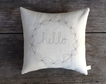 Hello PIllow, Decorative Pillow Cover, Personalized Hostess Gift, Modern Home Decor, Stitched Wreath Pillow, Unique Unisex Gift under 50