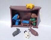 SALE - Handmade Clay Nativity Set