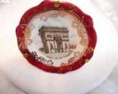 """Limoges porcelain miniature plate, """"Paris Arc de Triomphe"""" plate, vintage collectible, France collectible, fine porcelain"""