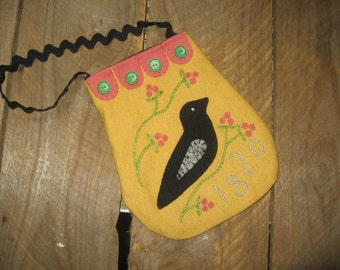 Black Bird Crow Ditty Bag Appliqued on Wool  JKB