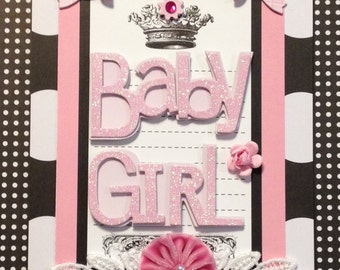 Baby Girl Card, Welcome Baby Card, Birds