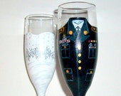 Army Uniform -  Bride and Groom Wedding Dress Handpainted Set of 2 / 6 oz. Champagne Flutes,Toasting Flutes,Wedding,/ Made to Order