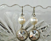 BRIDESMAID EARRINGS Antique Brass with Clear Swarovski Crystals and White or Ivory Pearls, Downton Abbey Looking Jewels Jewelry