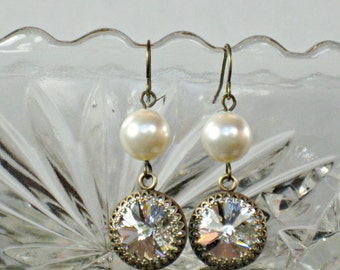 BRIDESMAID EARRINGS Antique Brass with Clear Swarovski Crystals and White or Ivory Pearls,  Bridesmaid Gift