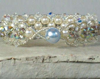 Bracelet SOMETHING BLUE Envy for Brides with Swarovski Pearls and Satin AB Crystals for Weddings, Bridal Bracelet and Bridesmaid Gifts