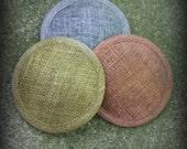 Metallic Round Sinamay Fascinator Hat Base-  Silver, Gold, Copper, Pewter