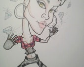 Rhianna Rock Portrait Rock and Roll Caricature Music Art by Leslie Mehl