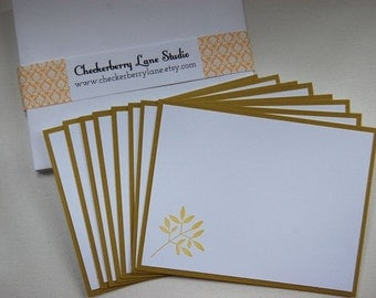 leafy branch flat note card set