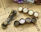 5pcs of antique brass Hair Clips Barrette with round Cabochon Base(Fit Cabochon Size:12),hairpin findings,Hair Clips Barrette