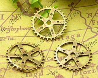 20PCS Of 25MM Antique Brass lovely gear Charm Pendant,metal finding,pendant beads,jewelry findings