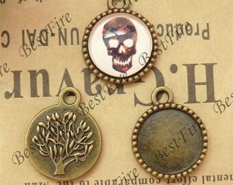 20 pcs of  Antique brass round Cabochon Pendant Base (Fit Cabochon 14mm),Pendant findings,tree findings
