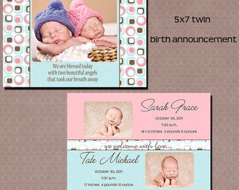 twin birth announcements blue pink  card template 5x7 front and back psd layered INSTANT DOWNLOAD