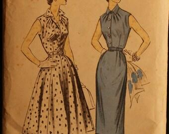 Advance 7111 Misses Slim or Flared Summer Dress Vintage 50s Sewing Pattern Sz 12