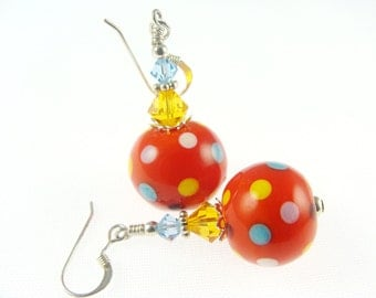 Polka Dot Lampwork Earrings, Summer Fun Glass Bead Earring, Red Dangle Earrings, Lampwork Jewelry, Beadwork Earrings, Glass Bead Jewelry