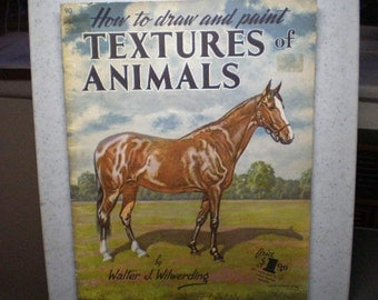 Vintage Mid Century How Art Book - How To Draw And Paint Textures Of Animals