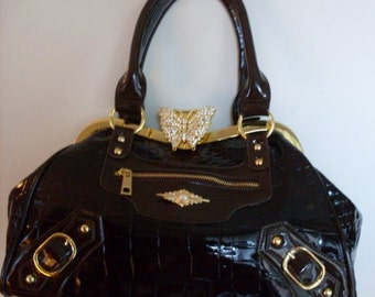 Stunning Rhinestone Butterfly Patent Leather Bag Purse LJO Collection  Collectibles