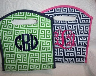 Personalized GREEK KEY Insulated Lunch Tote Green & Navy