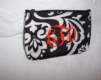 Personalized SMALL Damask Cosmetic or Pencil Pouch