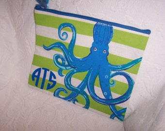 Personalized Octopus Jute Clutch Carry-All