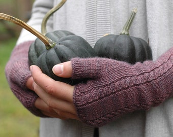 Fingerless mittens - simplicity mitts with micro cables - boysenberry