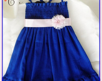 Navy Blue dress - Dark Blue Dress - for 4 years - Navy Blue Flower girl dress - Blue halter dress -  blue frilly dress -Ready to ship