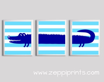 Kids Wall Art Girl Boy Art Alligator Stripes Turquoise Royal Blue Zoo Safari Jungle Wetlands Set of 3