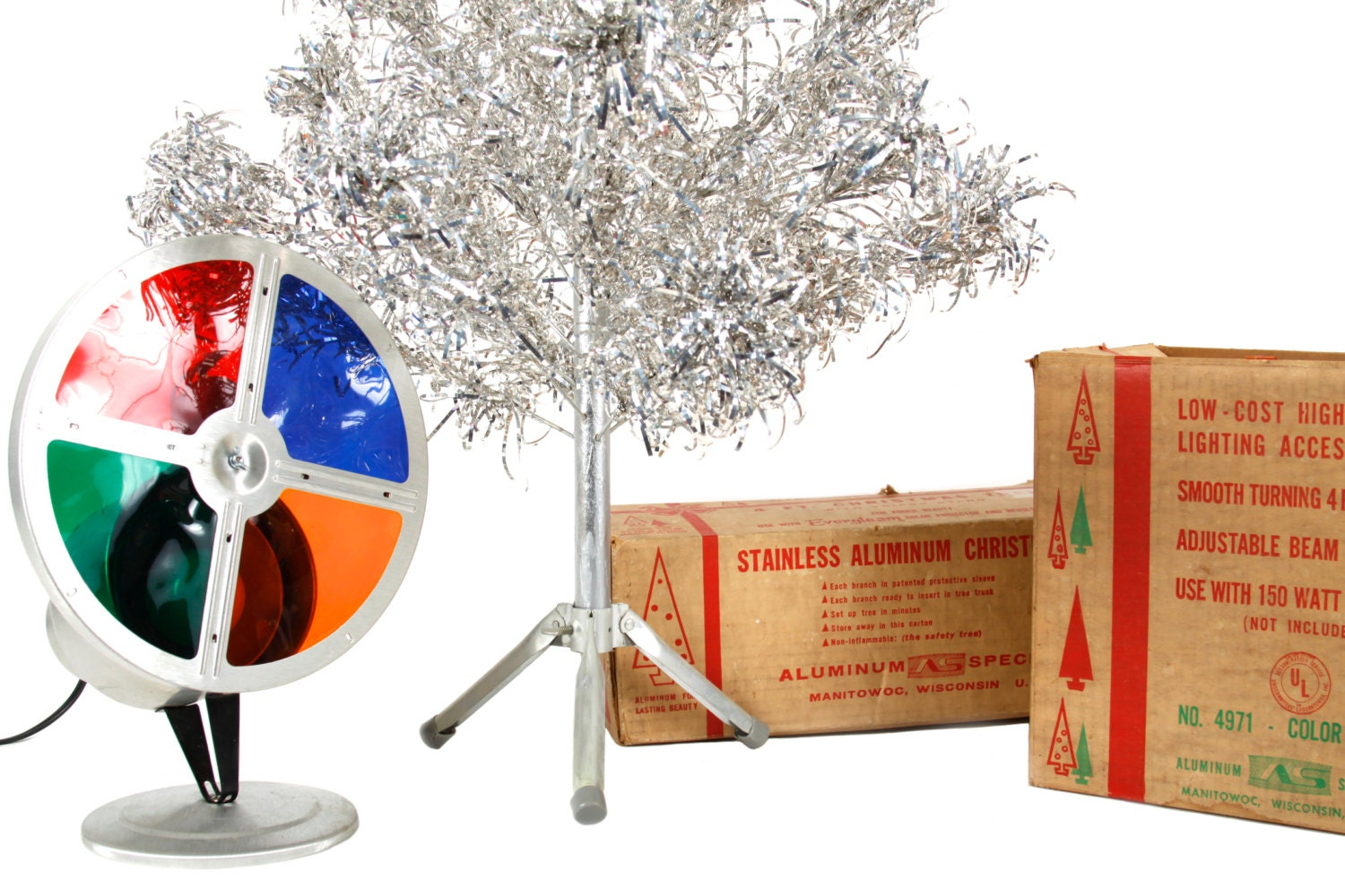 4 Ft. Aluminum Tree With Color Wheel Vintage Christmas