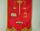 Vintage Odd Fellow Embroidered Banner -Sword and Scales