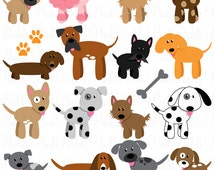 Dog Clipart Clip Art, Puppy Clipart Clip Art Vectors - Commercial and Personal Use