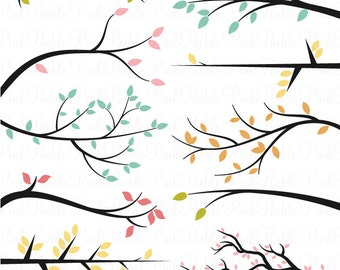 Branch Silhouettes Photoshop Brushes, Tree Branch Photoshop Brush - Commercial and Personal Use